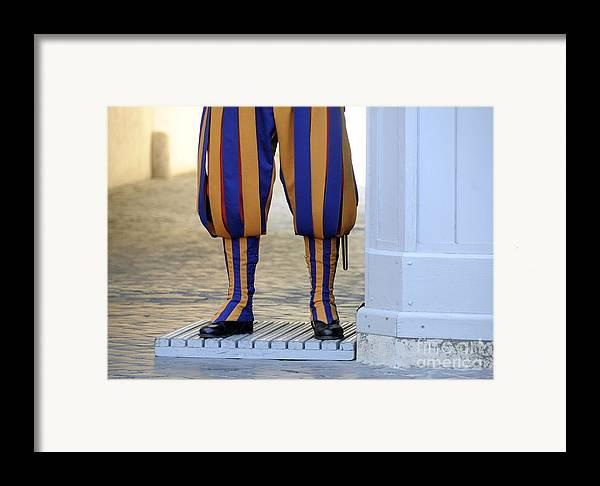 People Framed Print featuring the photograph Swiss Guards. Vatican by Bernard Jaubert