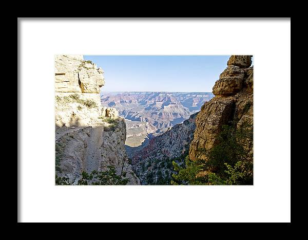 Patricia Sanders Framed Print featuring the photograph Swtichback Trails On The Steep Walls Of The Grand Canyon by Her Arts Desire