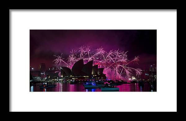 Fireworks Framed Print featuring the photograph Sydney Fireworks - Purple by Rick Drent