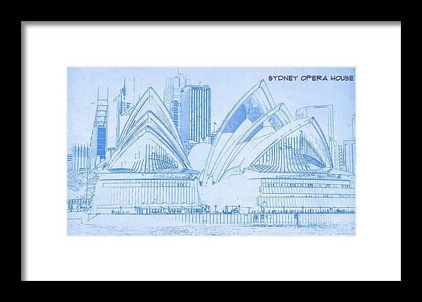 Sydney opera house blueprint drawing framed print by motionage designs sydney opera house blueprint drawing framed print featuring the digital art sydney opera house malvernweather Choice Image
