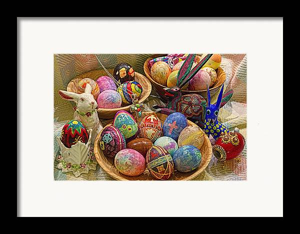 Easter; Cross; Crosses; Crucifixion; Jesus Christ; Jesus; Christ; Christian; Holiday; Holidays; Spiritual; Secular; Symbol; Symbols; Symbolism; Symbolic; Rabbit; Rabbits; Bunny; Bunnies; Easter Bunny; Egg; Eggs; Dyed; Colored; Decorated; Pysanka; Ukrainian; Mexican; Folk Art; Porcelain; Bowl; Bowls; Turned Bowl; Turned Bowls; Wooden Bowl; Wooden Bowls;spiritual;secular;photograph;photographs;photography;gary Holmes;gary; Holmes;horizontal Format;landscape;long Exposure;hdr Framed Print featuring the photograph Symbols Of Easter- Spiritual And Secular by Gary Holmes