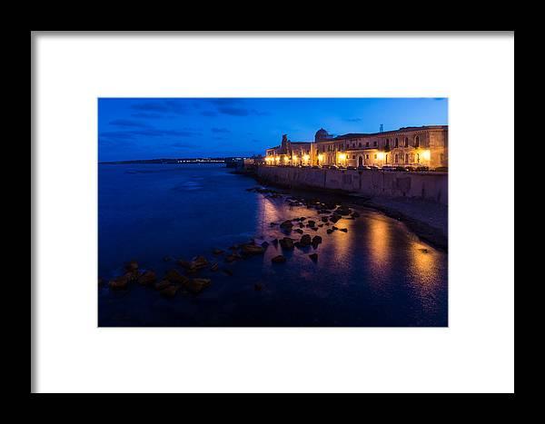 Syracuse Framed Print featuring the photograph Syracuse Sicily Blue Hour - Ortygia Evening Mood by Georgia Mizuleva