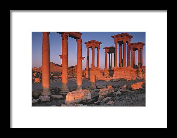 Adnt Framed Print featuring the photograph Syria, The Great Tetra Pylon At Palmyra by Steve Roxbury