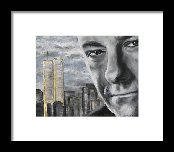 Soprano Framed Print featuring the painting T And The Wtc by Eric Dee