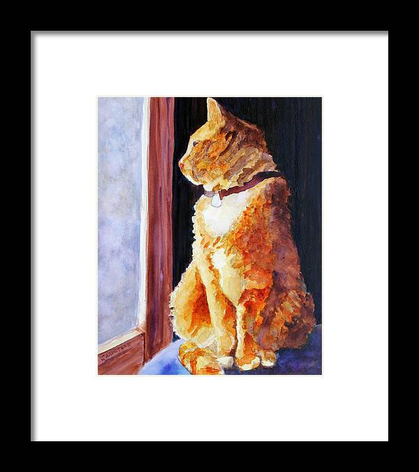 Cat Framed Print featuring the painting Tabby's Favorite Seat by Jenny Armitage