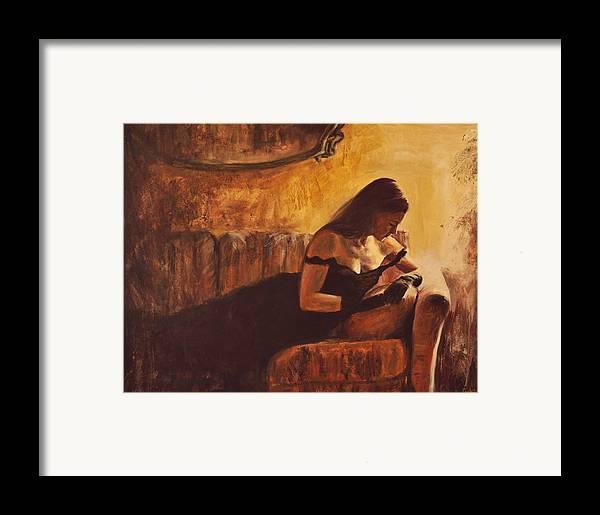 Nude Framed Print featuring the painting Tacere by Escha Van den bogerd
