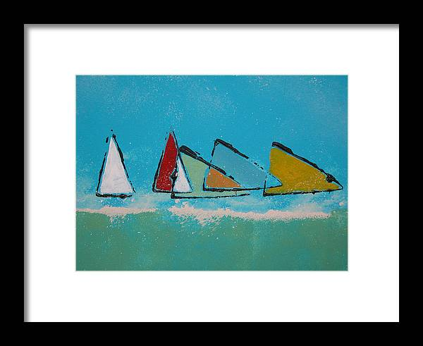 Sail Framed Print featuring the painting Tack by Rhodes Rumsey