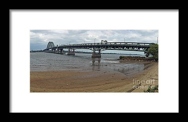 Connecting Framed Print featuring the photograph Tacony Palmyra Bridge by Tom Gari Gallery-Three-Photography