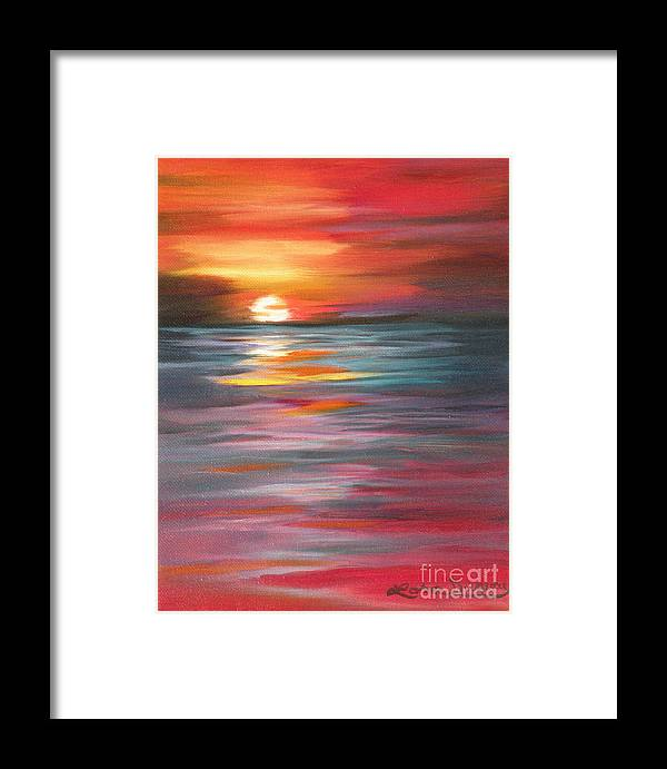 Sunset Framed Print featuring the painting Tahitian Sunset by Lora Duguay