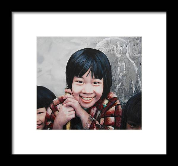 Children Portraits Framed Print featuring the painting Taipei Twins by Richard Barone