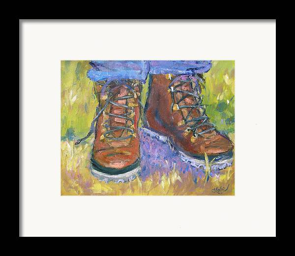 Hiking Framed Print featuring the painting Take A Hike by Jude Lobe