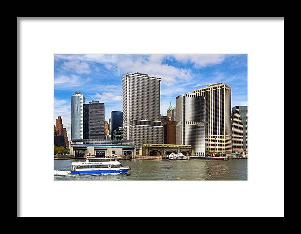 New York Framed Print featuring the photograph Take The Ferry - Manhattan Skyline by Mark E Tisdale