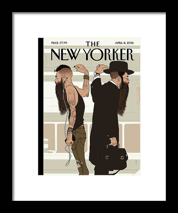 Jewish Framed Print featuring the painting Take The L Train by Tomer Hanuka