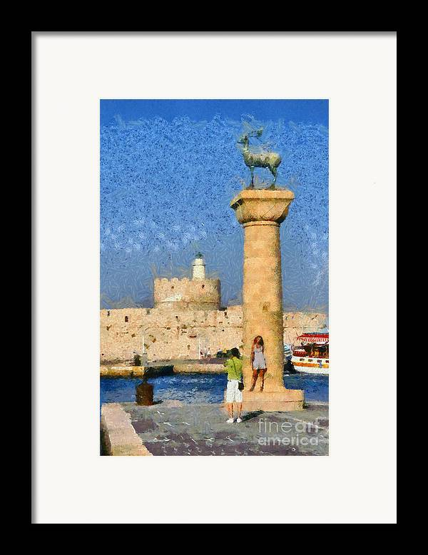 Rhodes Framed Print featuring the painting Taking Pictures At The Entrance Of Mandraki Port by George Atsametakis