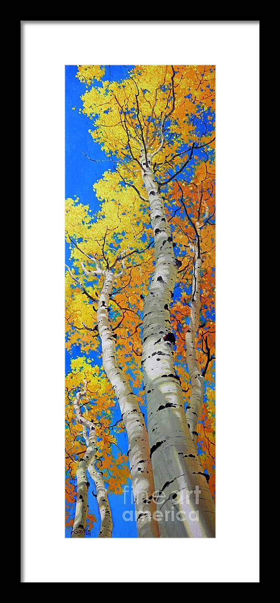 Fall Aspen Framed Print featuring the painting Tall Aspen Trees by Gary Kim