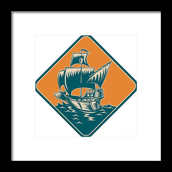 Ship Framed Print featuring the digital art Tall Sailing Ship Retro Woodcut by Aloysius Patrimonio