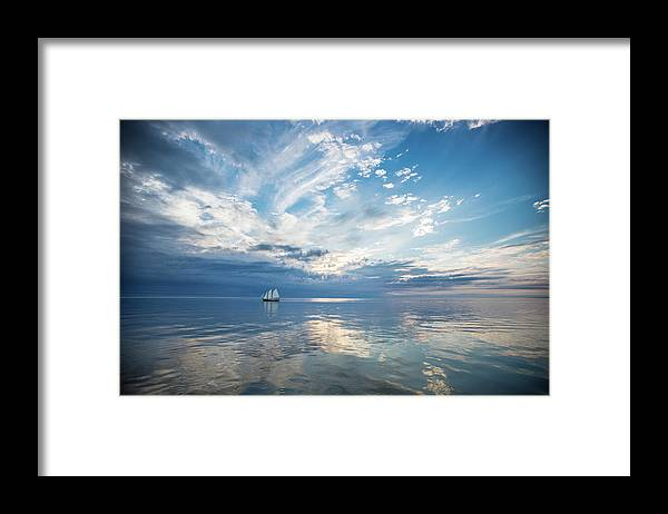 Tranquility Framed Print featuring the photograph Tall Ship On The Big Lake by Rudy Malmquist