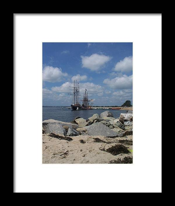 Seascape Framed Print featuring the photograph Tall Ships In The Distance by Rosanne Bartlett