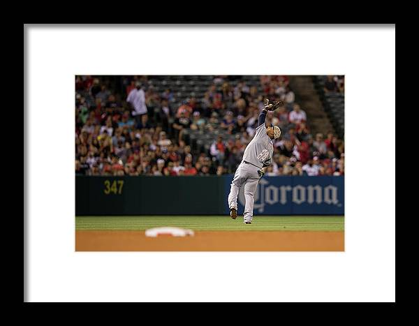 American League Baseball Framed Print featuring the photograph Tampa Bay Rays V Los Angeles Angels Of by Paul Spinelli