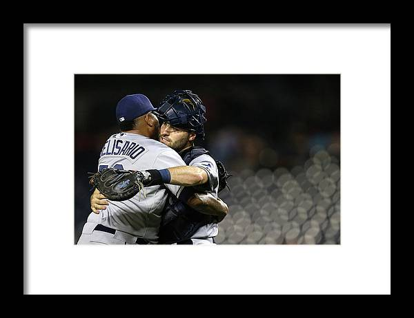 Baseball Catcher Framed Print featuring the photograph Tampa Bay Rays V Washington Nationals by Patrick Smith