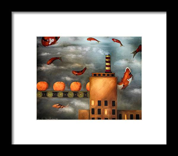 Tangerine Framed Print featuring the painting Tangerine Dream Edit 2 by Leah Saulnier The Painting Maniac