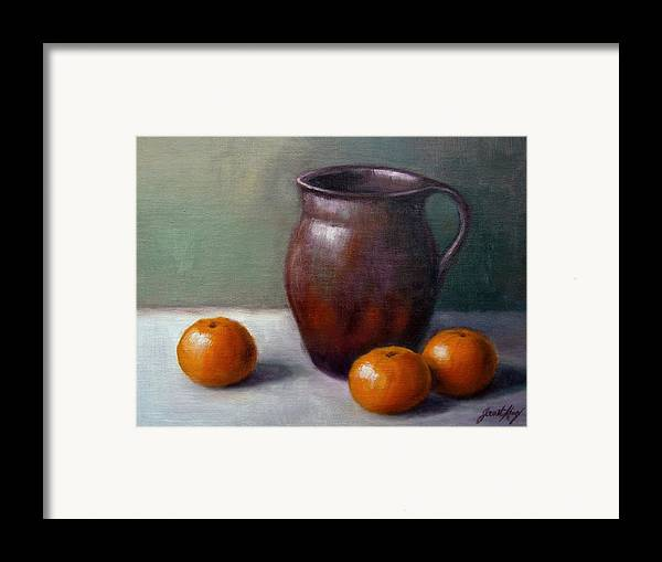 Tangerine Framed Print featuring the painting Tangerines by Janet King
