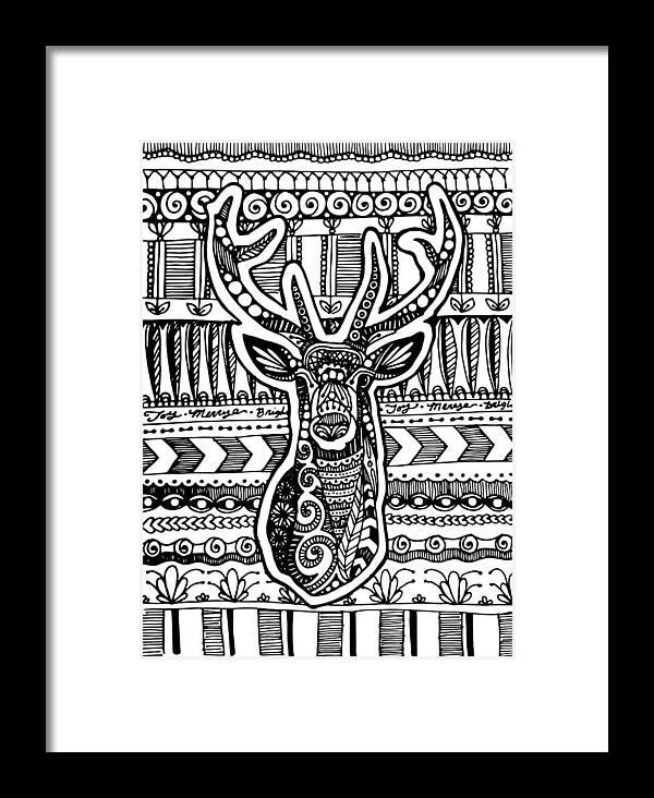 Deer Framed Print featuring the drawing Tangled Deer by Sadie Maughan