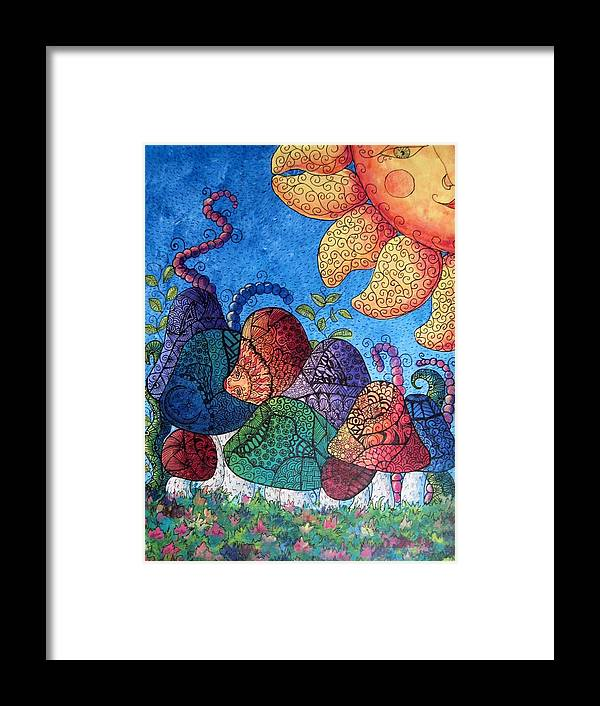 Abstract Framed Print featuring the painting Tangled Mushrooms by Megan Walsh