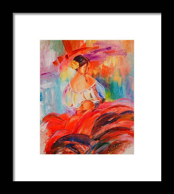 Original Oil Girl Dancer Tango Figurative Colorful Framed Print featuring the painting Tango by Marina Wirtz
