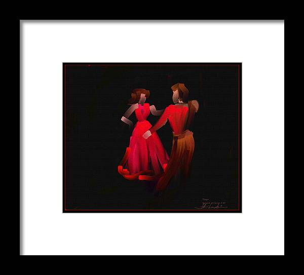Tango Framed Print featuring the painting Tango - Scratch Art Series - # 40 by Steven Lebron Langston