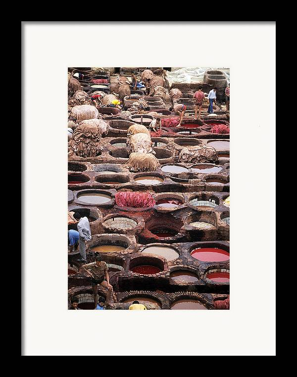 Leather Framed Print featuring the photograph Tanning Vats In Morocco by Carl Purcell