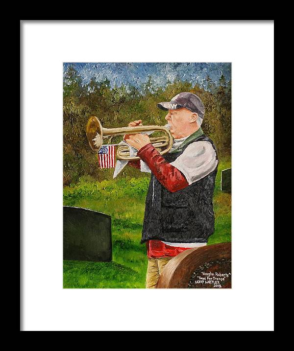Taps Framed Print featuring the painting Taps For Troops by Larry Whitler