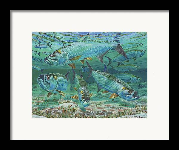 Tarpon Framed Print featuring the painting Tarpon Rolling In0025 by Carey Chen