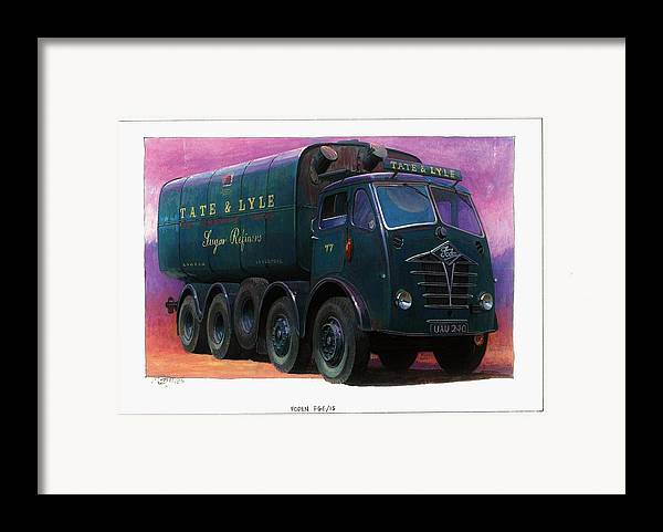 Lorry Framed Print featuring the painting Tate And Lyle Foden. by Mike Jeffries