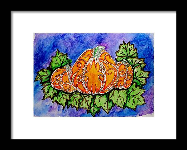 Pumpkins Framed Print featuring the painting Tattoo Pumpkin Patch by Allison Tilberg