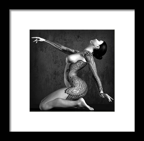 Tattooed Nude Framed Print featuring the digital art Tattooed Nude Black And White by Kaylee Mason