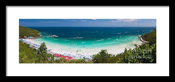 Activity Framed Print featuring the photograph Tawaen Beach by Atiketta Sangasaeng