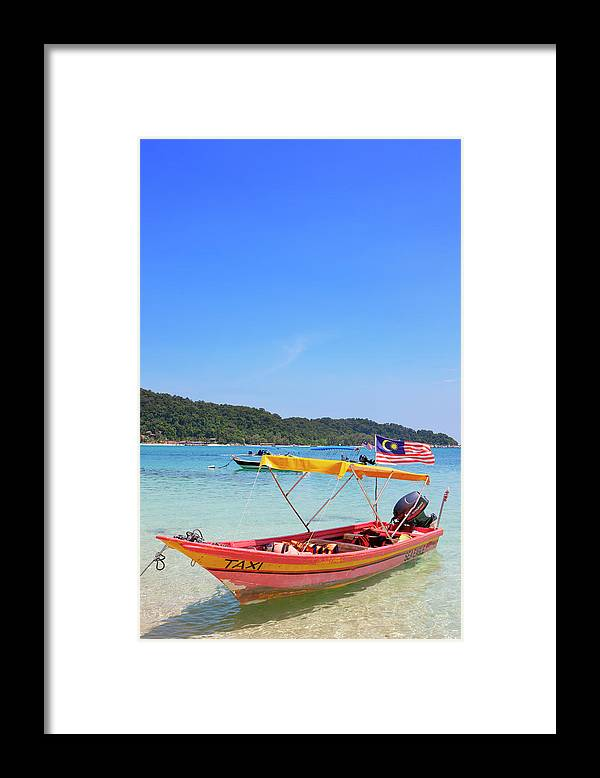 Tranquility Framed Print featuring the photograph Taxi Boat, Perhentian Islands by Laurie Noble