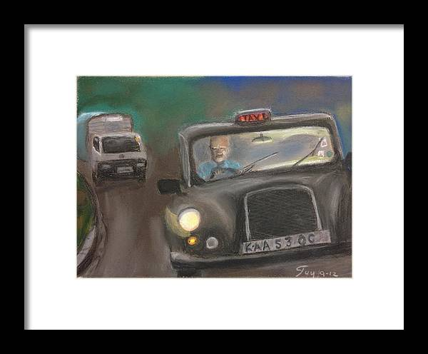 Taxi Framed Print featuring the drawing Taxi Driver by Guy Elhanani