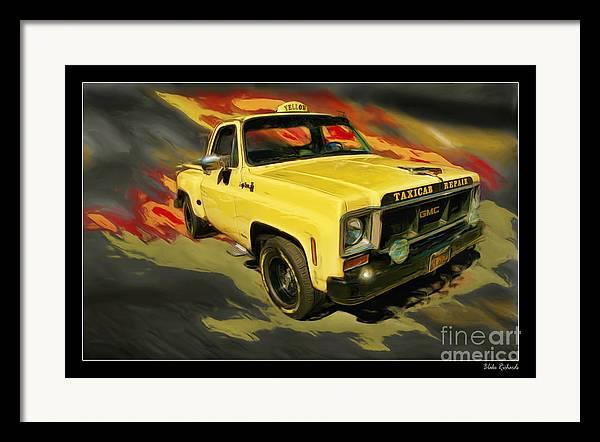 Trucks Framed Print featuring the photograph Taxicab Repair 1974 Gmc by Blake Richards