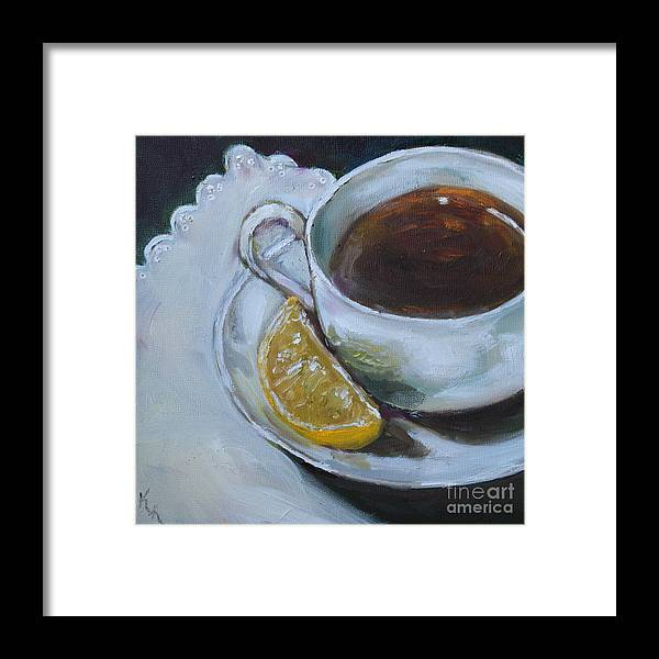 Tea Framed Print featuring the painting Tea And Lemon by Kristine Kainer