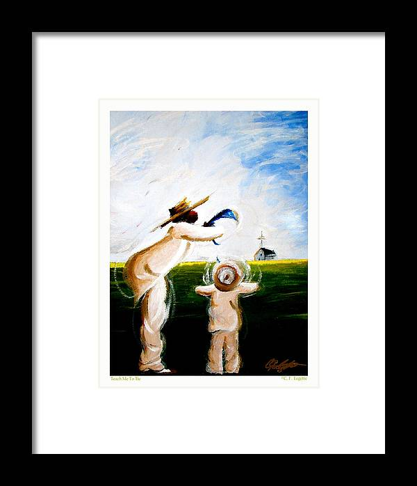 Man Framed Print featuring the painting Teach Me To Tie by C F Legette