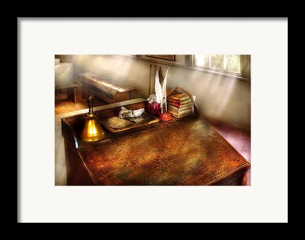 Savad Framed Print featuring the photograph Teacher - The School Room by Mike Savad