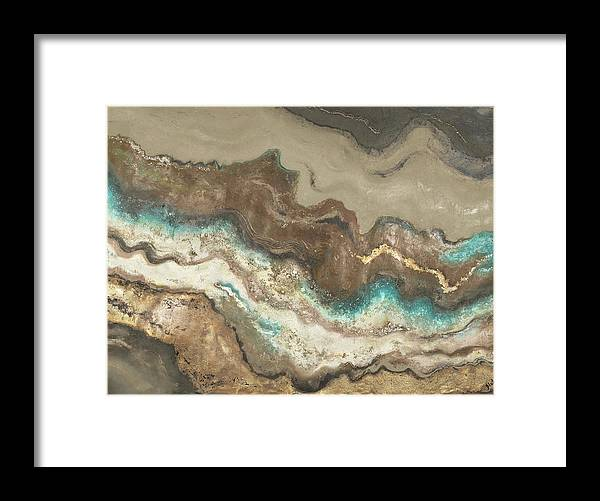 Lava Framed Print featuring the painting Teal Lava Flow by Patricia Pinto