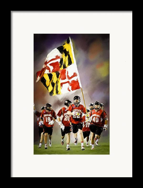 Lacrosse Framed Print featuring the painting Team Maryland by Scott Melby