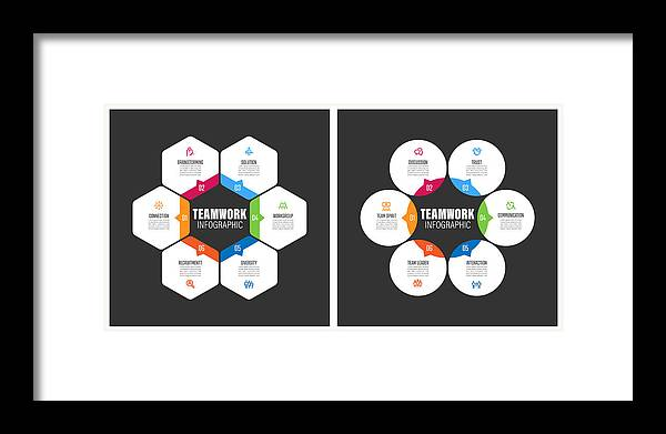 Diversity Framed Print featuring the drawing Teamwork Chart With Keywords by Enis Aksoy