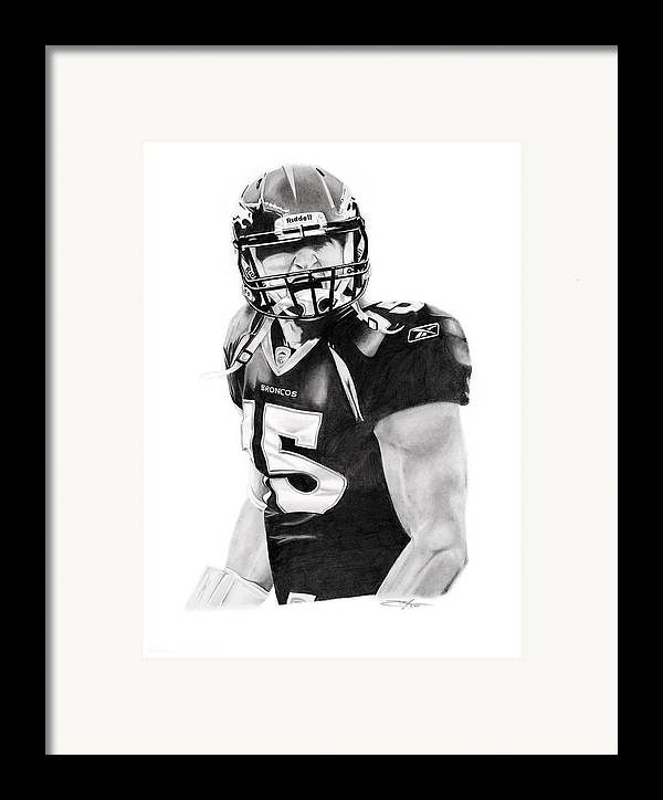 Nfl Framed Print featuring the drawing Tebow by Don Medina