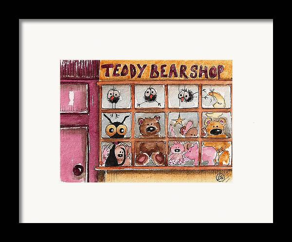 Lucia Stewart Framed Print featuring the painting Teddy Bear Shop by Lucia Stewart