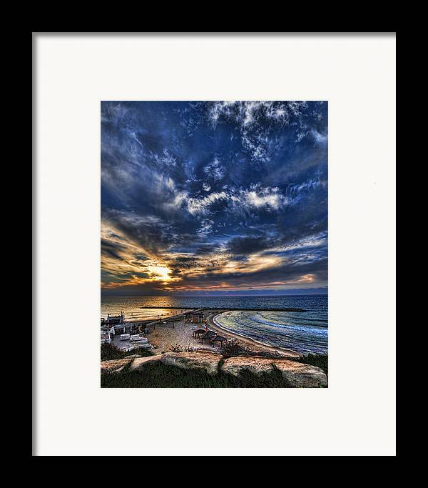 Israel Framed Print featuring the photograph Tel Aviv Sunset At Hilton Beach by Ron Shoshani