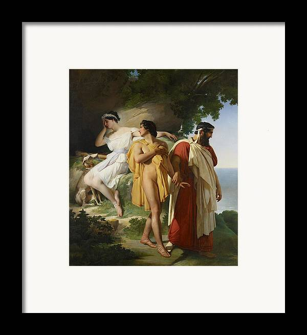 Telemachus; Eucharis; The Adventures Of Telemachus; Odyssey; Literature; Scene; Characters; Greek; Myth; Mythology; Mythological; Legend; Hero; Journey; Love; Lovers; Male; Female; Nymph; Mentor; Young; Innocence; Grief; Tragic; Parting; Parted; Departing; Farewell; Goodbye; Leaving; Leading; Looking Back; Heartbroken; Heartbreak; Romance; Romantic; Classical; Connection; Sorrow; Sad; Sadness; Dog; Pet; Domestic Animal; Landscape; Nude; Drapery; Gesture; Head In Hand;emotion; Emotions; Emotional Framed Print featuring the painting Telemachus And Eucharis by Raymond Quinsac Monvoisin